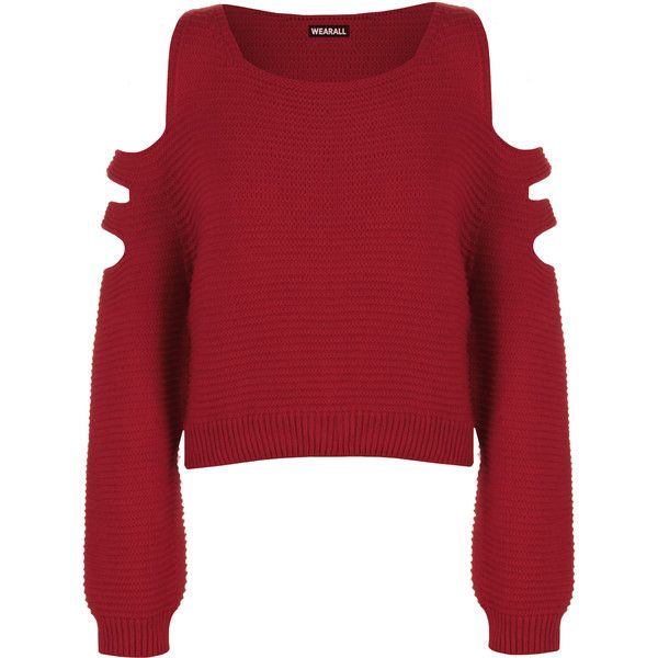 aeeddd0269890 Aniya Knitted Off Shoulder Jumper ( 23) ❤ liked on Polyvore featuring tops