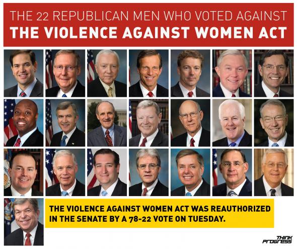 SOTU: 22 Republican Male Senators Voted Against VAWA. The Senate did pass the Violence Against Women Act today. #UniteBlue