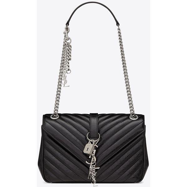 Classic Medium MONOGRAM SAINT LAURENT Punk Chain Bag in Black... ($2,355) ❤ liked on Polyvore