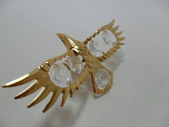 Vintage Figurine Gold Eagle Large Clear Faceted by KathiJanes, $34.95