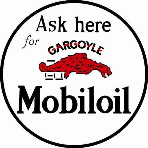 MOBIL OIL MOBILOIL GAS ASK HERE GARGOYLE Vintage Steel Metal Sign ...