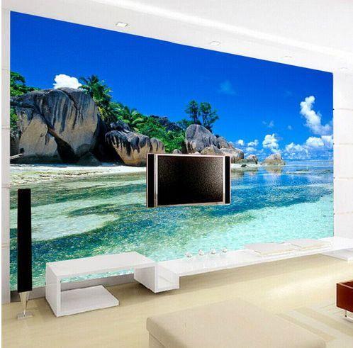 3d Tropical Beach Island Wallpaper For Walls Beach Wallpaper