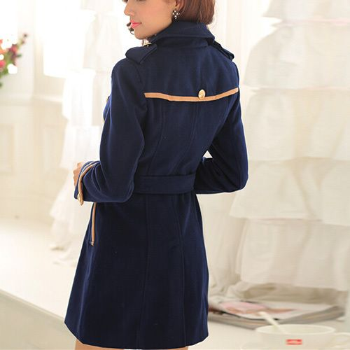 Fashion Double-breasted Slim Fit Woolen Coat With Sash