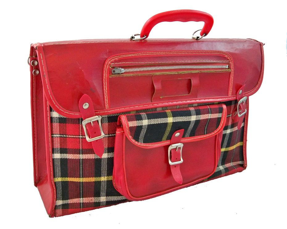 1950s school book bag | red plaid bookbag 1950s and then we ...