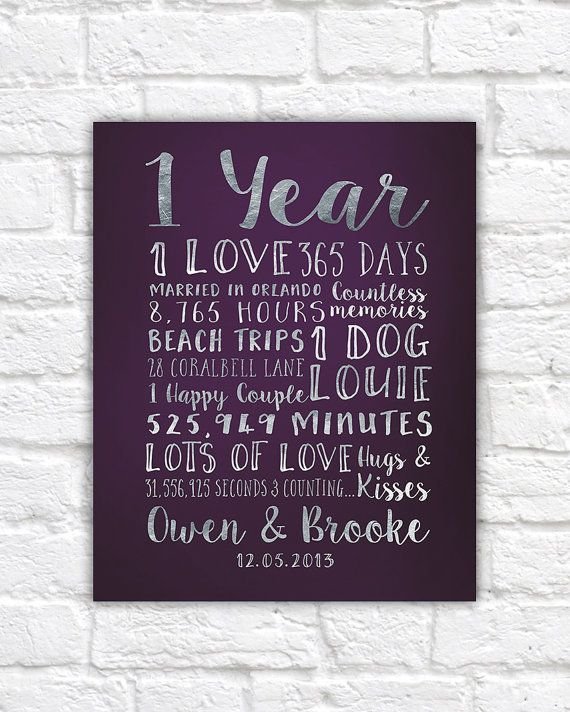 First Anniversary Paper Gift Traditional 1 Year 1st Wedding Colors Plum Silver Gold Home