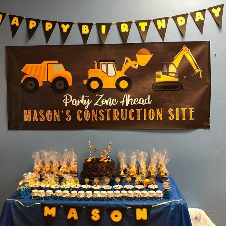 Construction Birthday Banner Construction Party Decor Etsy In 2021 Construction Birthday Parties Construction Birthday Outdoors Birthday Party