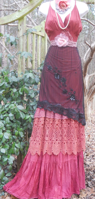 Pink maxi dress boho plum crochet cotton lace silk tiered bohemian ...