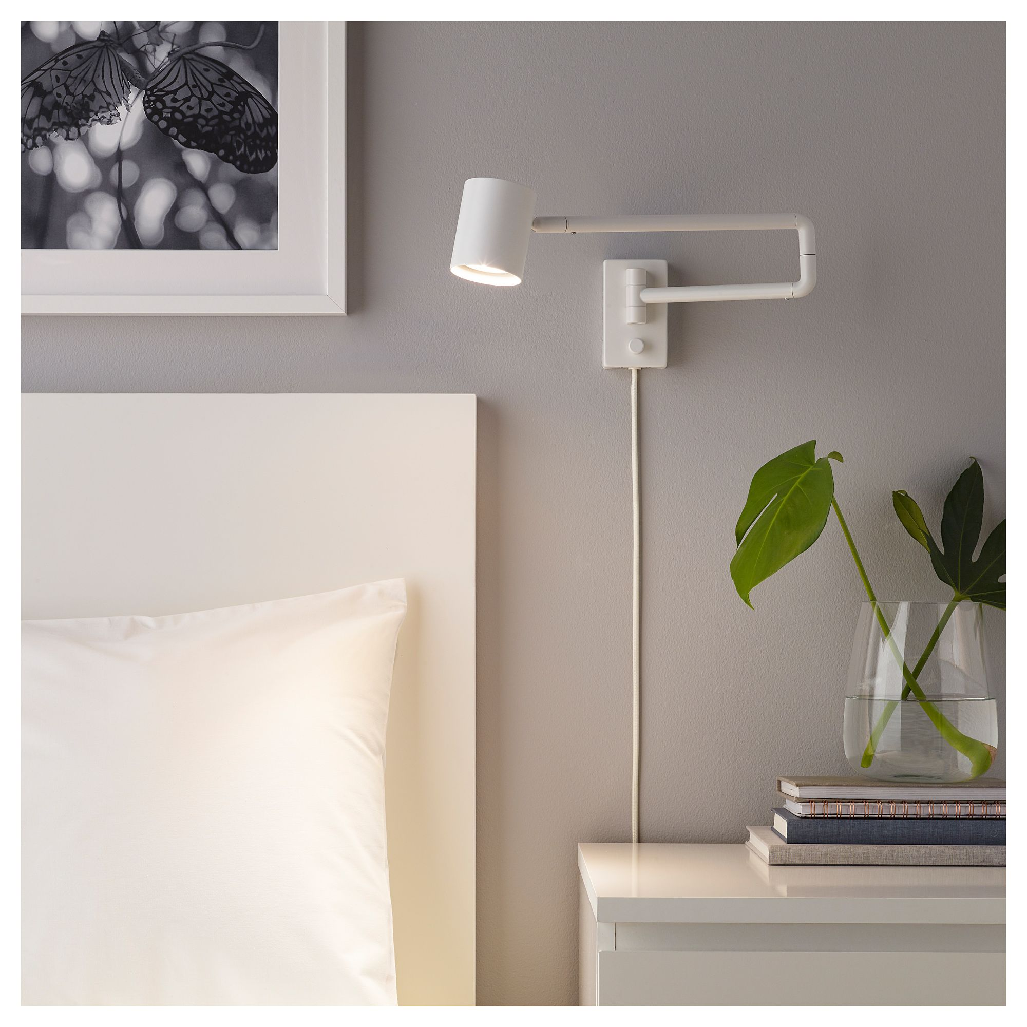 Nymåne Wall Lamp With Swing Arm White Bedroom Déco
