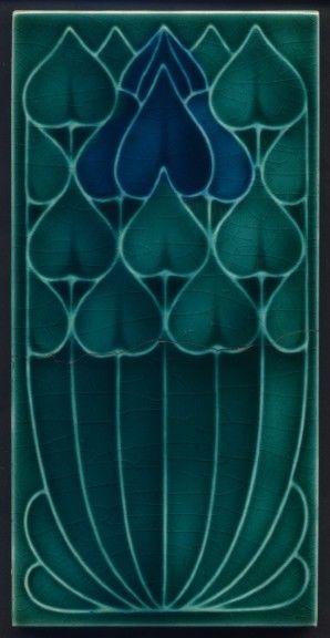 Th3074 Rare Pilkington S Blue 3x6 Art Nouveau Tile Artnouveau Art Nouveau Tiles Art Nouveau Pattern Tile Art