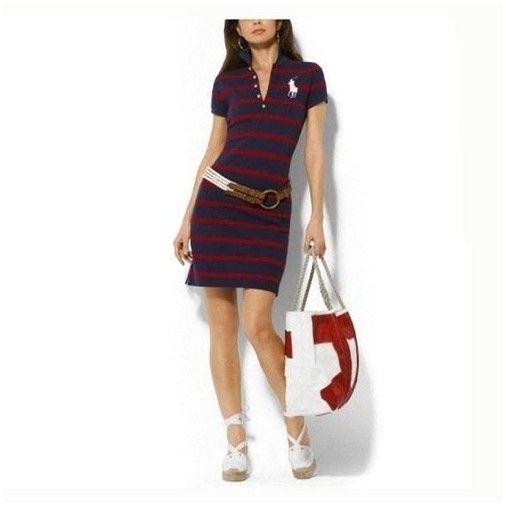 ralph lauren boutiques! Polo Ralph Lauren particulière Robe en coton à 1721  Marine   Rouge 2b3abc06cfd
