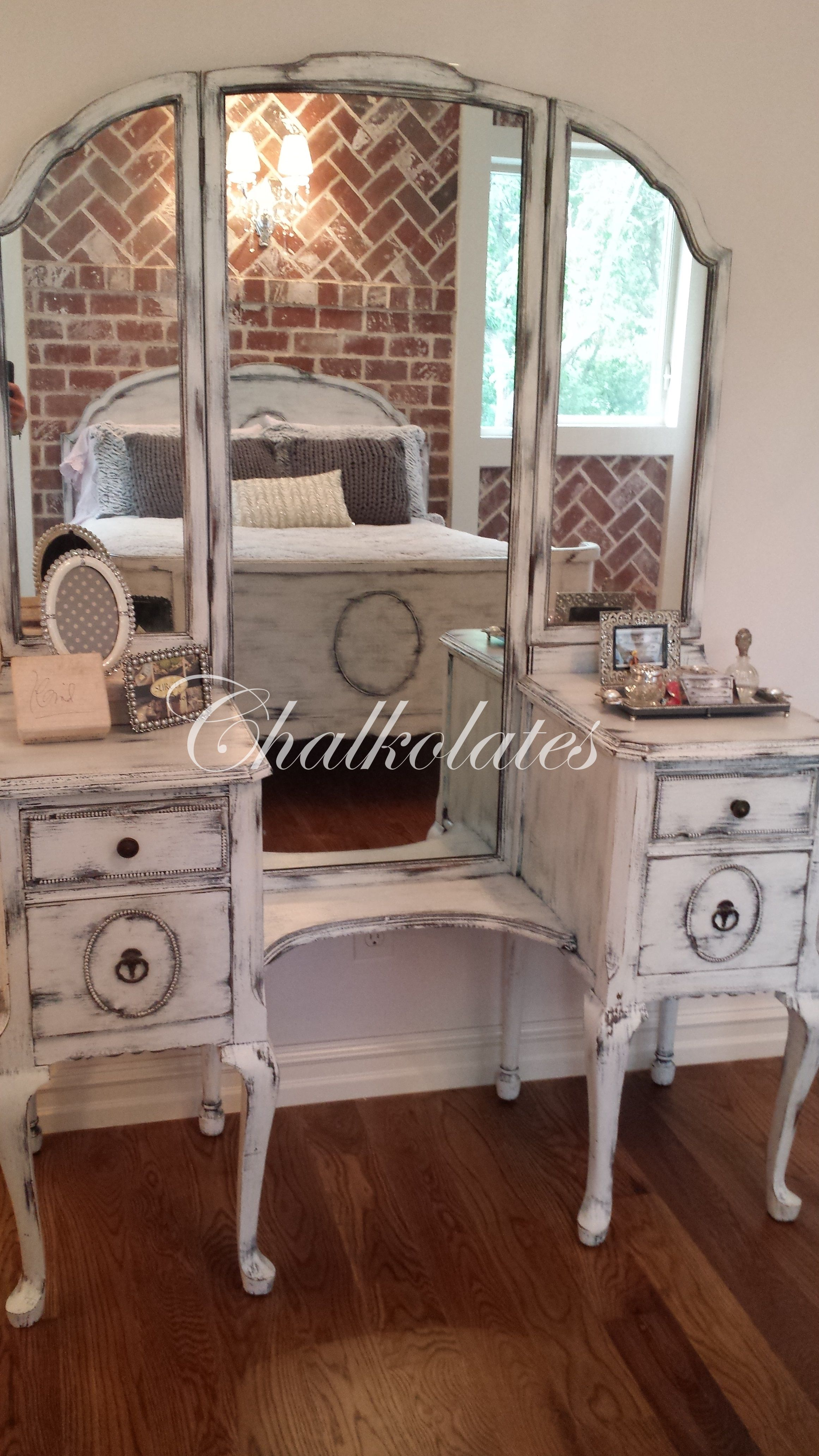 Custom Painted Antique Vanity Shabby Updated White Vintage Distressed Furniture Vanity Antique Vanity Furniture