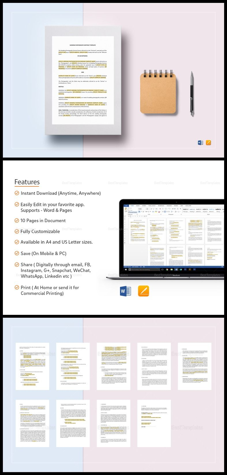 Wedding Photography Contract Template  Formats Included  Pages