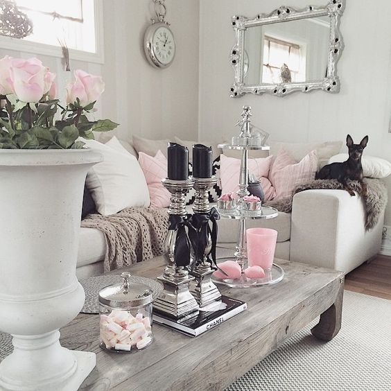 9 Gorgeous White Grey And Pink Interiors That Make You Dream Daily Dream Decor Blog Rustic Chic Living Room Chic Living Room Shabby Chic Decor Living Room