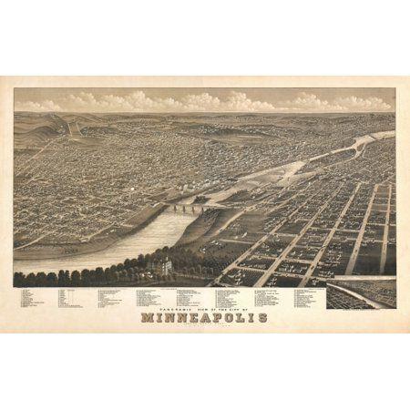 Old Map Of Minneapolis Minnesota 1879 Anoka County Canvas Art