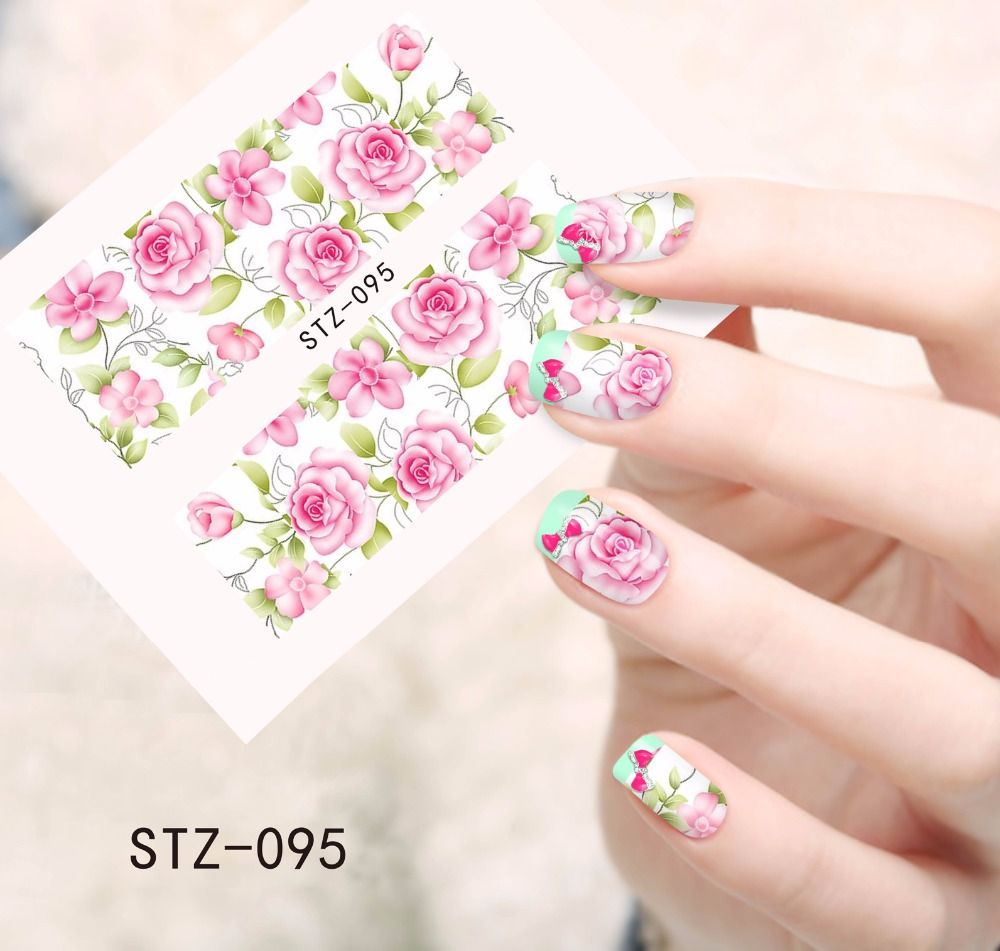 Stickers decals nail stickers nail art decals fashion - 1pcs Fashion Watermark Pink Flower Nail Art Decals Decorations Nail Stickers Full Cover Wraps Manicure Styling