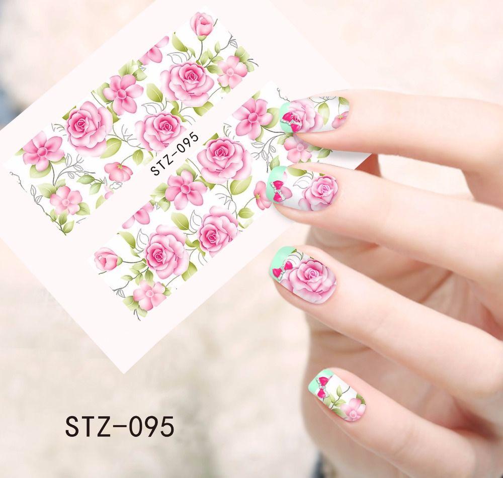 1 stücke Mode Wasserzeichen Rosa Blume Nail art Aufkleber ...