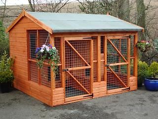 Details about Large Two Dog House, Kennel+Run 8×8 Delvd & In…