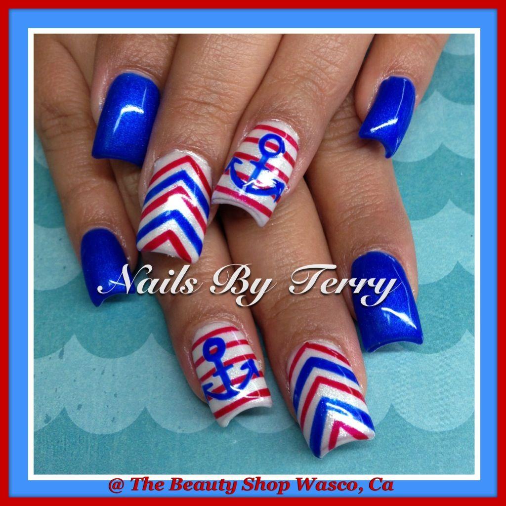gel polish 4th of july nails