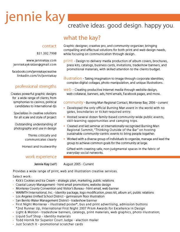 graphic resume Graphic Design Resume u2013 page one u2013 Blog Title - community organizer resume