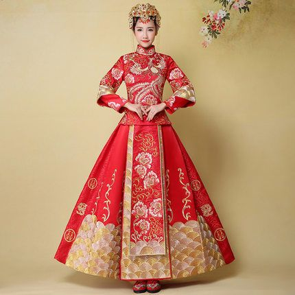 Chinese clothing Xiuhe bride dress wedding dress marry toast ...