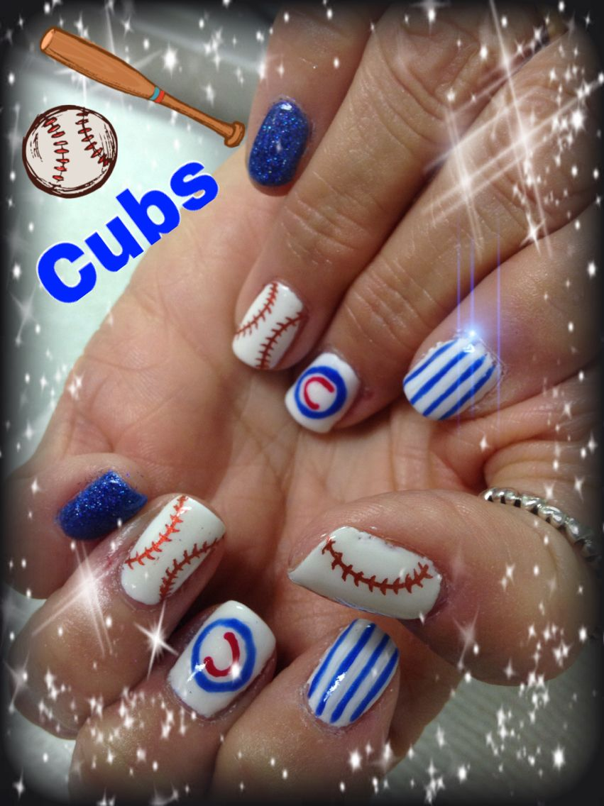 Chicago Cubs | Logo inspired nails by me | Pinterest | Chicago cubs ...
