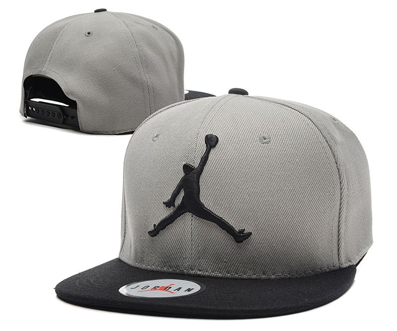 b0ee5059c57fd6 Jordan Snapback hats Gray Black snapback Jordan cap JH077