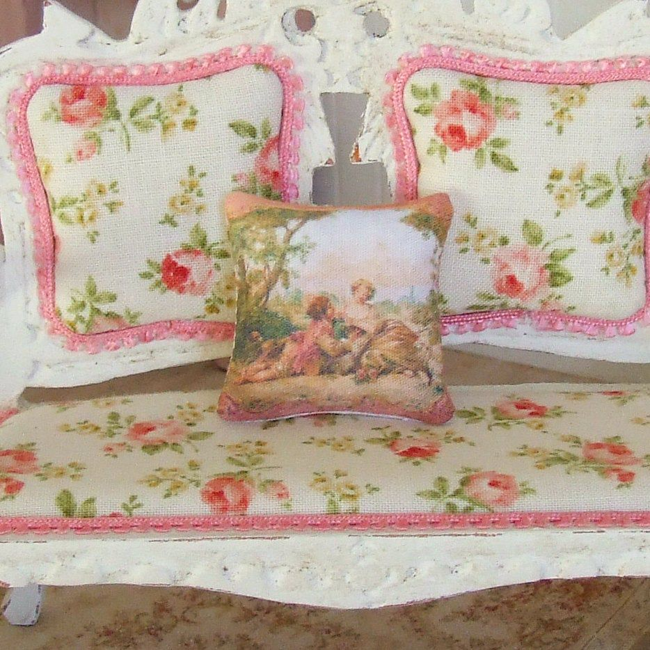 Dollhouse Miniature, French Scene Cushion, Dolls House Pillow, Living Room, Dollhouse Accessory, Shabby Cottage Chic, 1:12th Scale #dollhouseaccessories