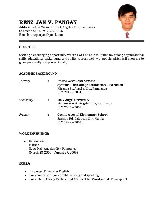 Format First Time Working First Job Job Application Resume Sample