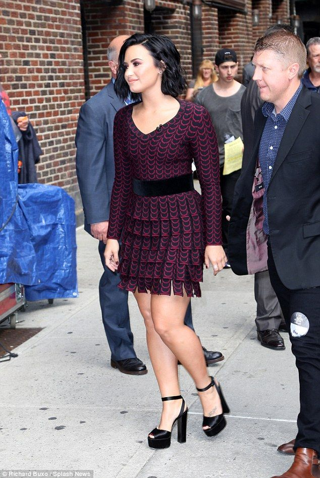 5a407aefda4 Nick Jonas and Demi Lovato are all smiles as they stop by Late Show ...