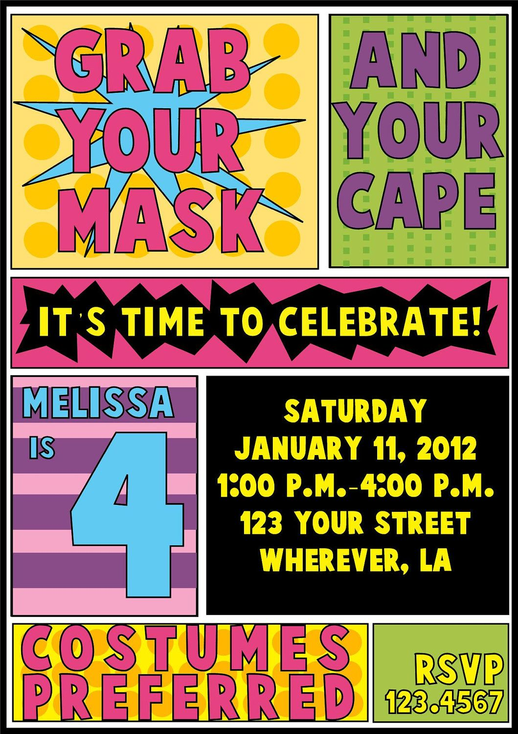 Digital Superhero Girl Birthday Invitation and coloring book. $6.00 ...