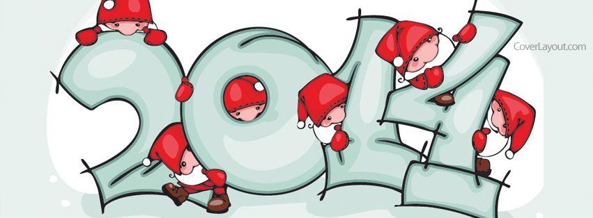 2014 New Year Santas Facebook Cover CoverLayout.com
