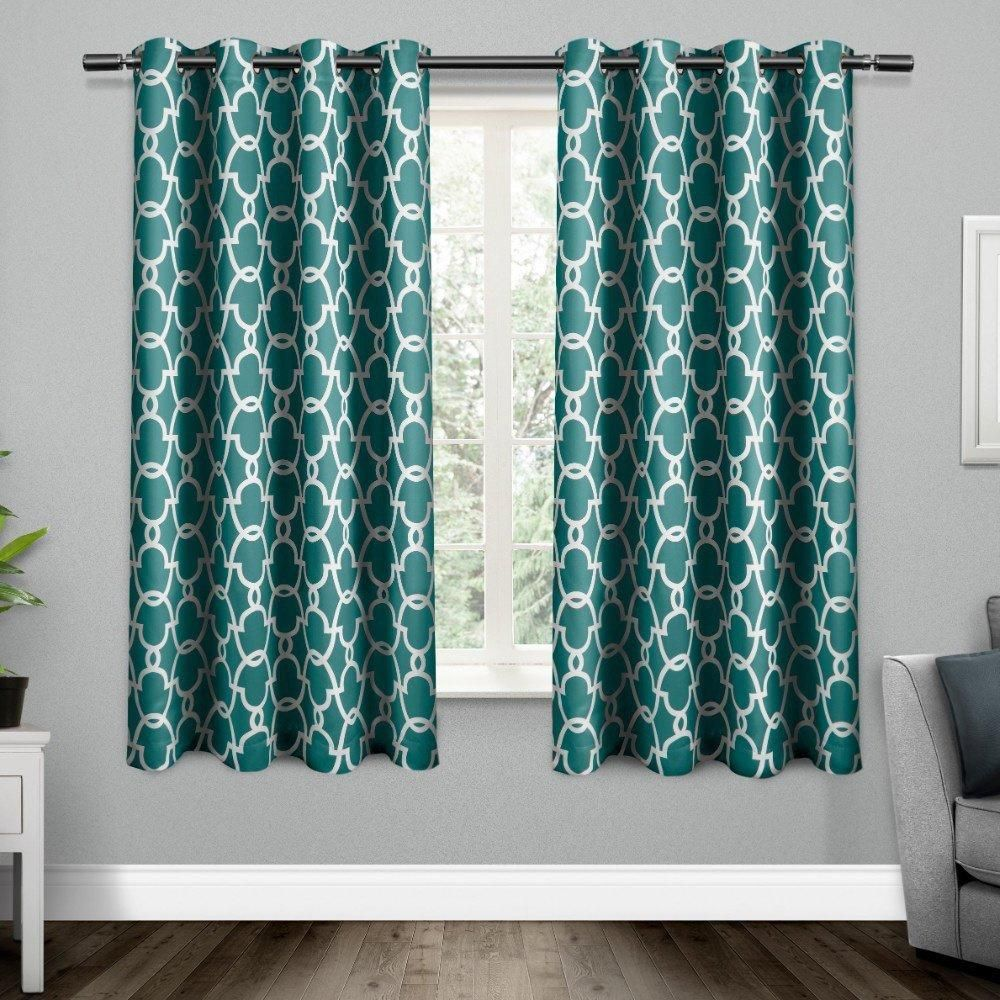 63 Inch Teal Blue White Moroccan Curtains Panel Pair Set Color Drape Medallion Geometric Pattern Window Treatments Modern Luxury Themed