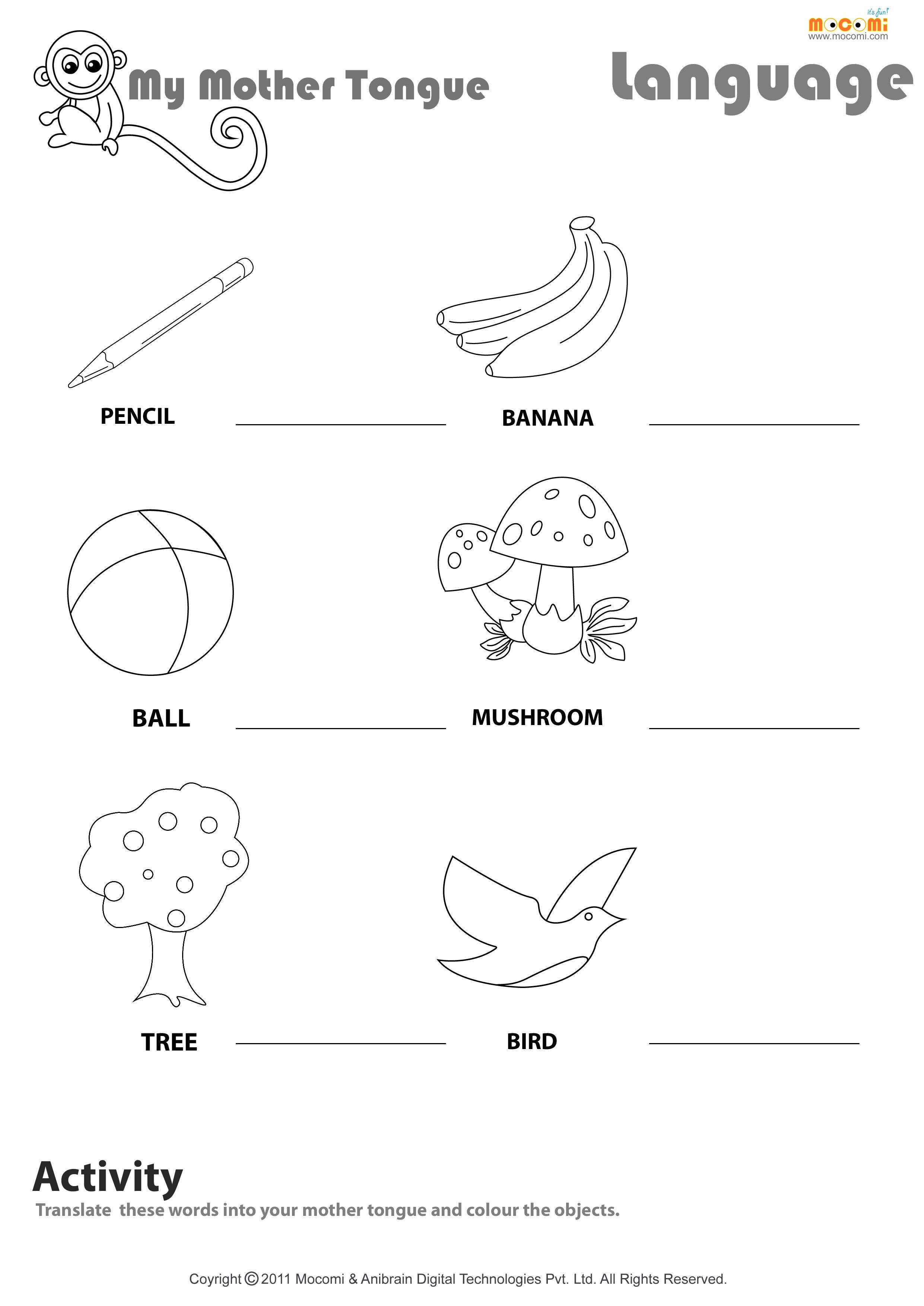 My mother tongue - English Worksheet for Kids   Mocomi   Fun worksheets for  kids [ 3507 x 2481 Pixel ]