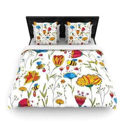 KESS InHouse Bees by Alisa Drukman Featherweight Duvet Cover Size: King/California King, Fabric: Woven Polyester