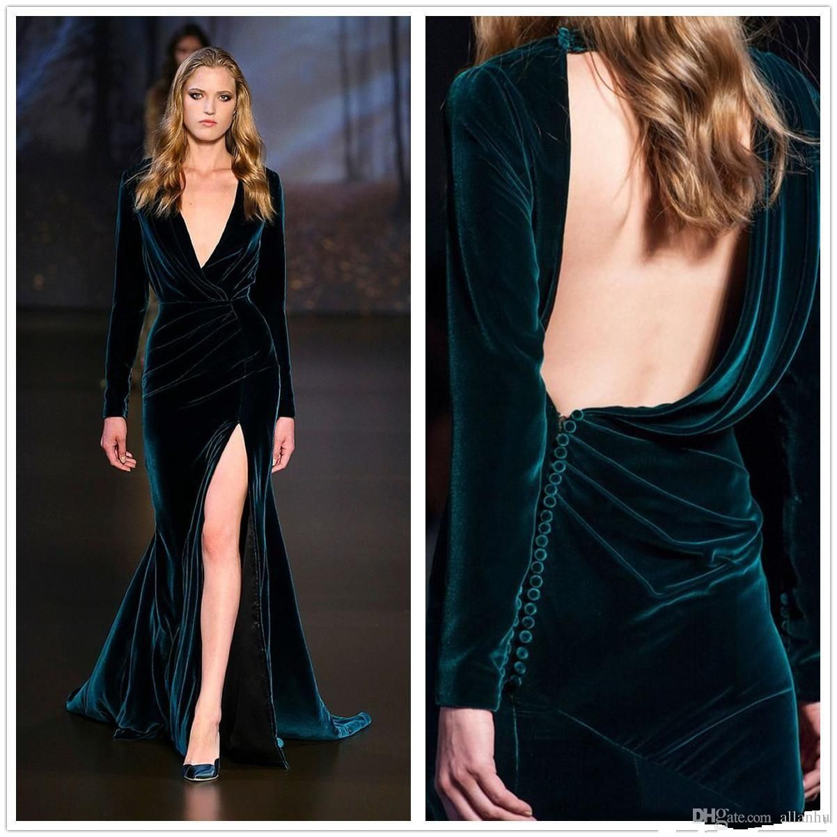 hunter green sexy velvet mermaid prom dresses deep v neck long