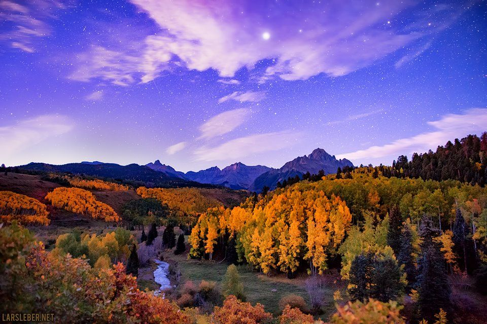 Mount Sneffels with Fall Foliage at Night (Colorado).