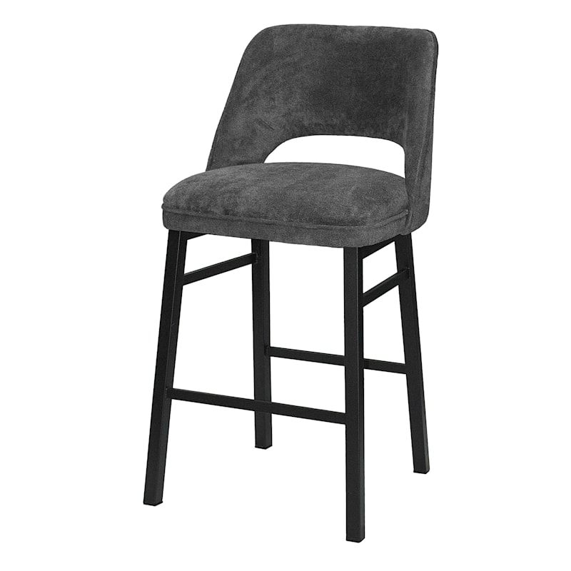 Madelaine Grey Upholstered Counter Stool 24 In 2021 Bar Stools Counter Stools Bar Height Stools Grey fabric bar stools