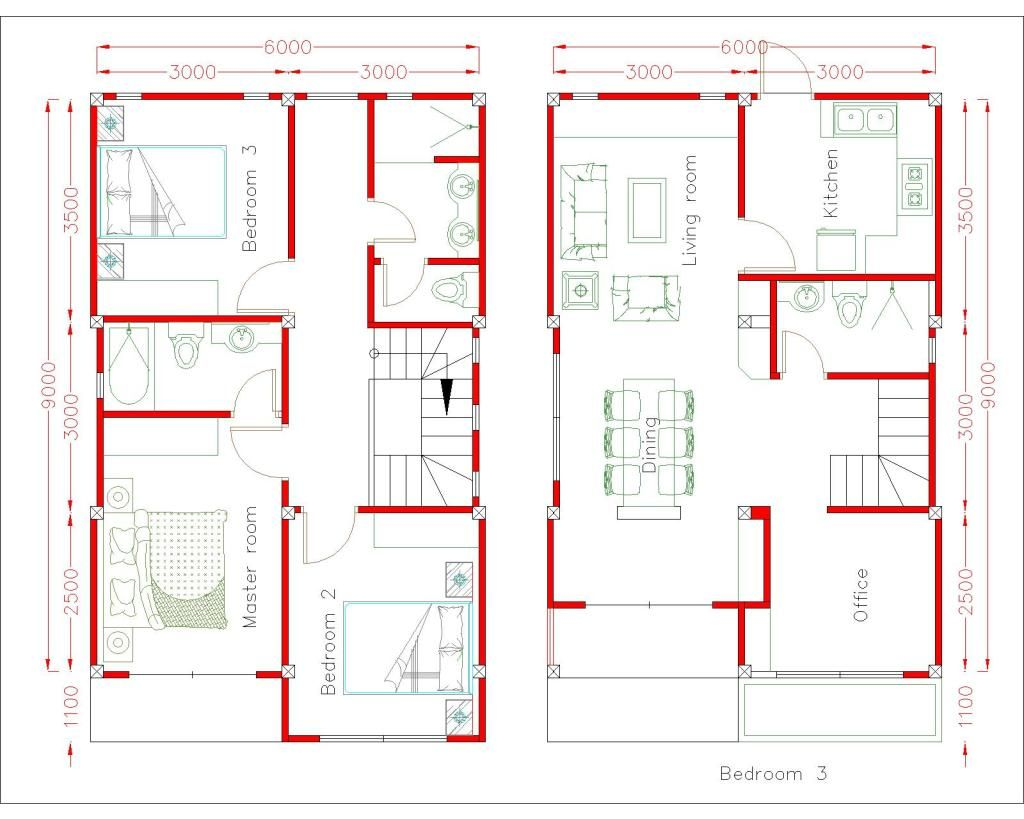 Simple Home Design Plan 6x9m With 3 Bedrooms Simple House Design
