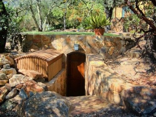 A Storm Cellar Or Wine Built Into Hillside With