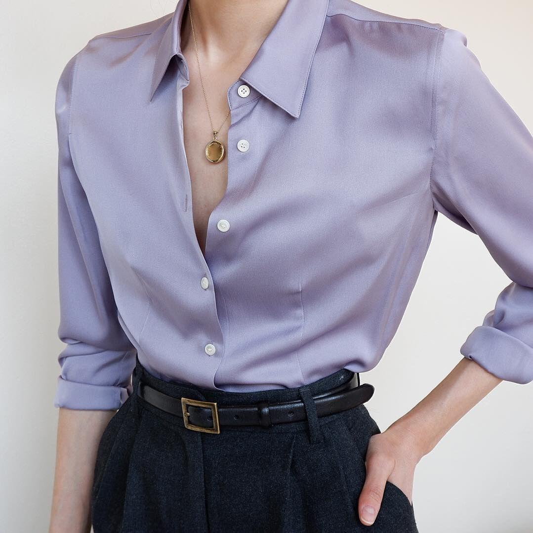 Women/'s Vintage Purple Button Up Silk Blouse