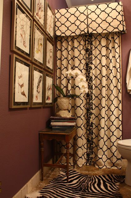 Custom Shower Curtain Bold Wall Color Accented By Neutrals