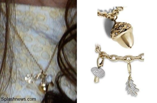 Kate wore a gold pendant with three charms. The eagle-eyed Anna from My Small Obsessions identified the charms as the oak leaf, mushroom and acorn from Asprey's Woodland Collection. Many readers will know the acorn is from the Middleton family crest. Perhaps it was a gift from one of the Middletons? The bracelet below features several charms including the three we believe Kate is wearing.