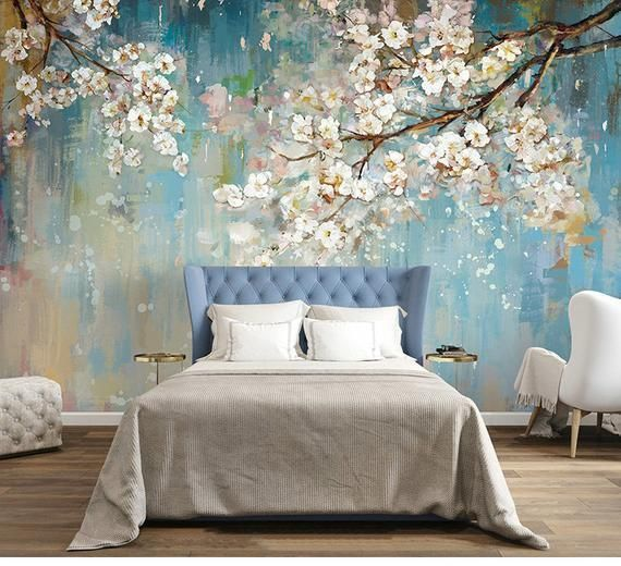 3D flowers wall wallpaper, light blue tree mural, floral, wall art, wall decal, vintage oil painting wall sticker - wallpaper ideas - #Decal #Floral #flowers #light #Mural #vintage #wallpaper - #TraditionalHomeDecor