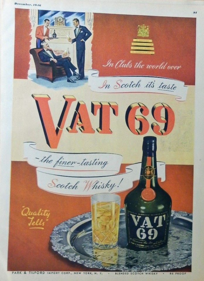 Wall art poster Reproduction. Vat 69 : Vintage  Magazine Whisky advert
