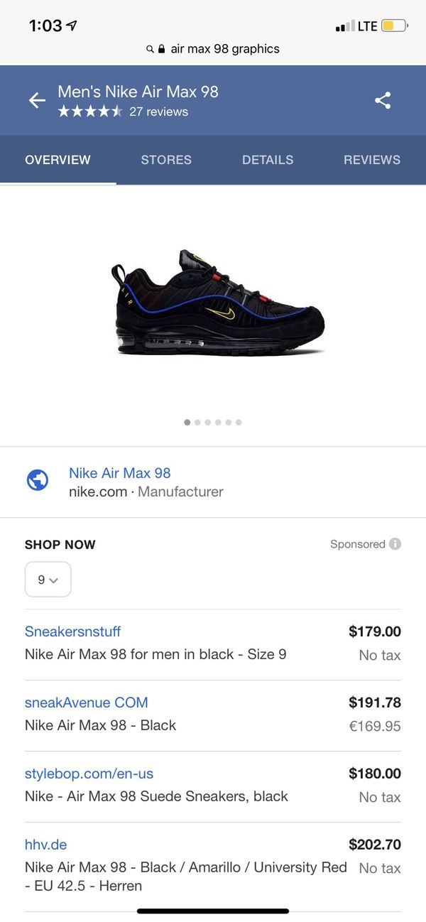 Nike air max 98 graphics size 9 for Sale in Houston, TX