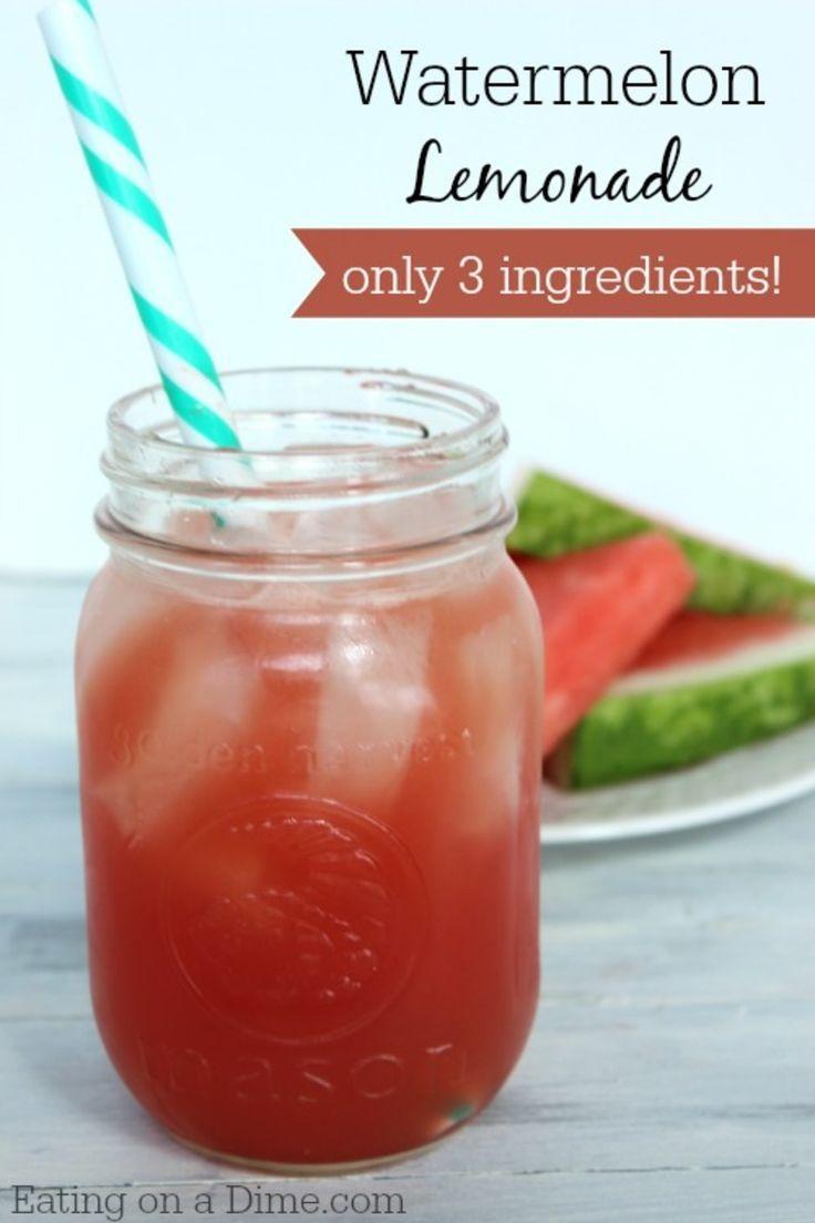 Homemade Watermelon Lemonade - only 3 ingredients #easylemonaderecipe