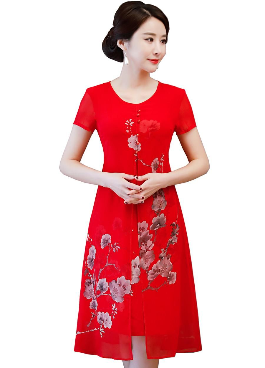 Shanghai Story False Two Pieces Qipao Chinese Traditional Dress Floral Cheongsam  Oriental Style Dress Chinese Women s 1aa965a91473