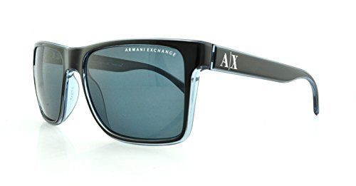 Armani Exchange AX4016 Sunglasses-805187 Black/Transp Blue Gray (Gray Lens)-57mm - Huge Deals