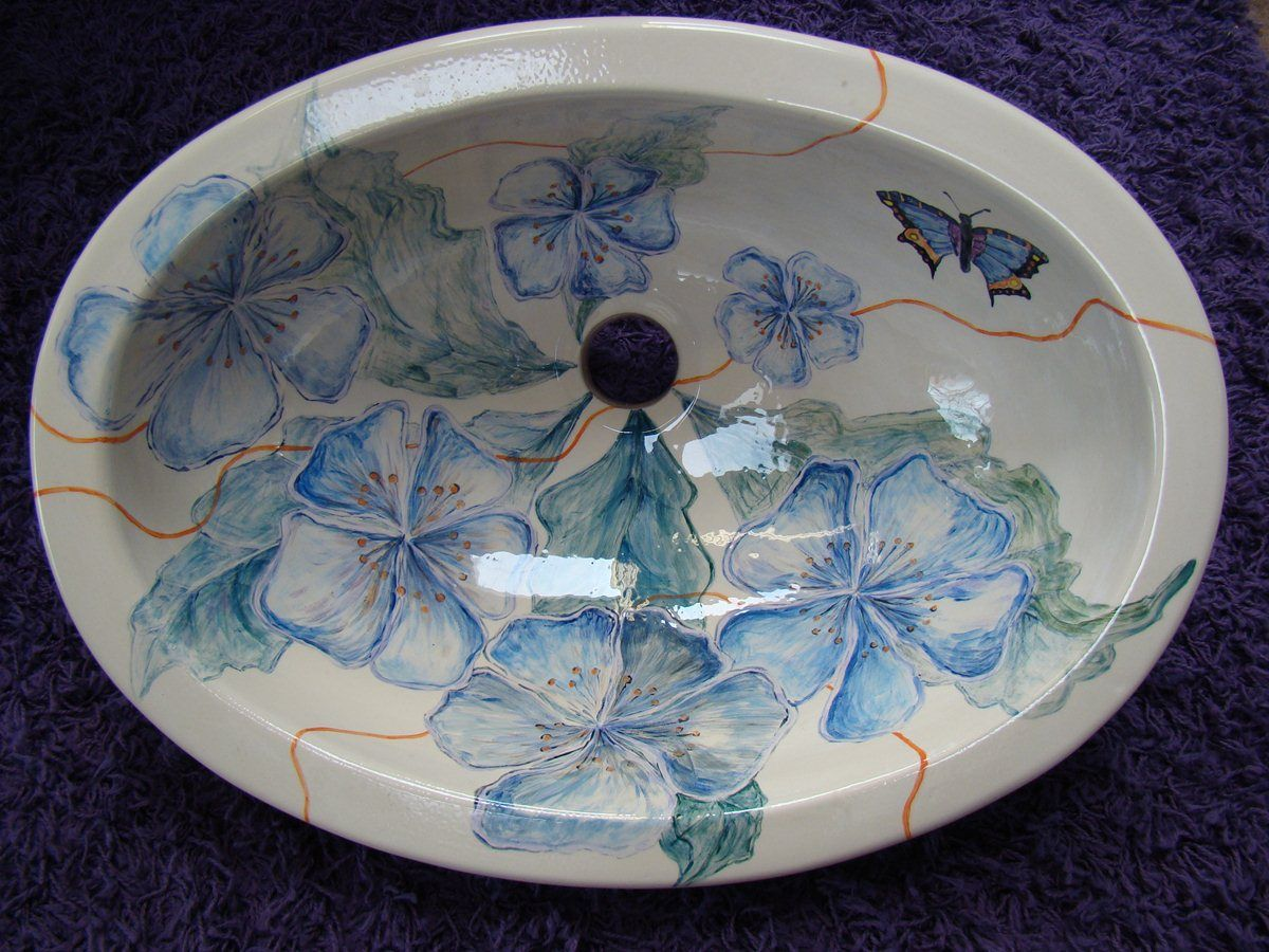 Umywalka ceramiczna ręcznie malowana z manufaktury Riwal. Handmade basins.