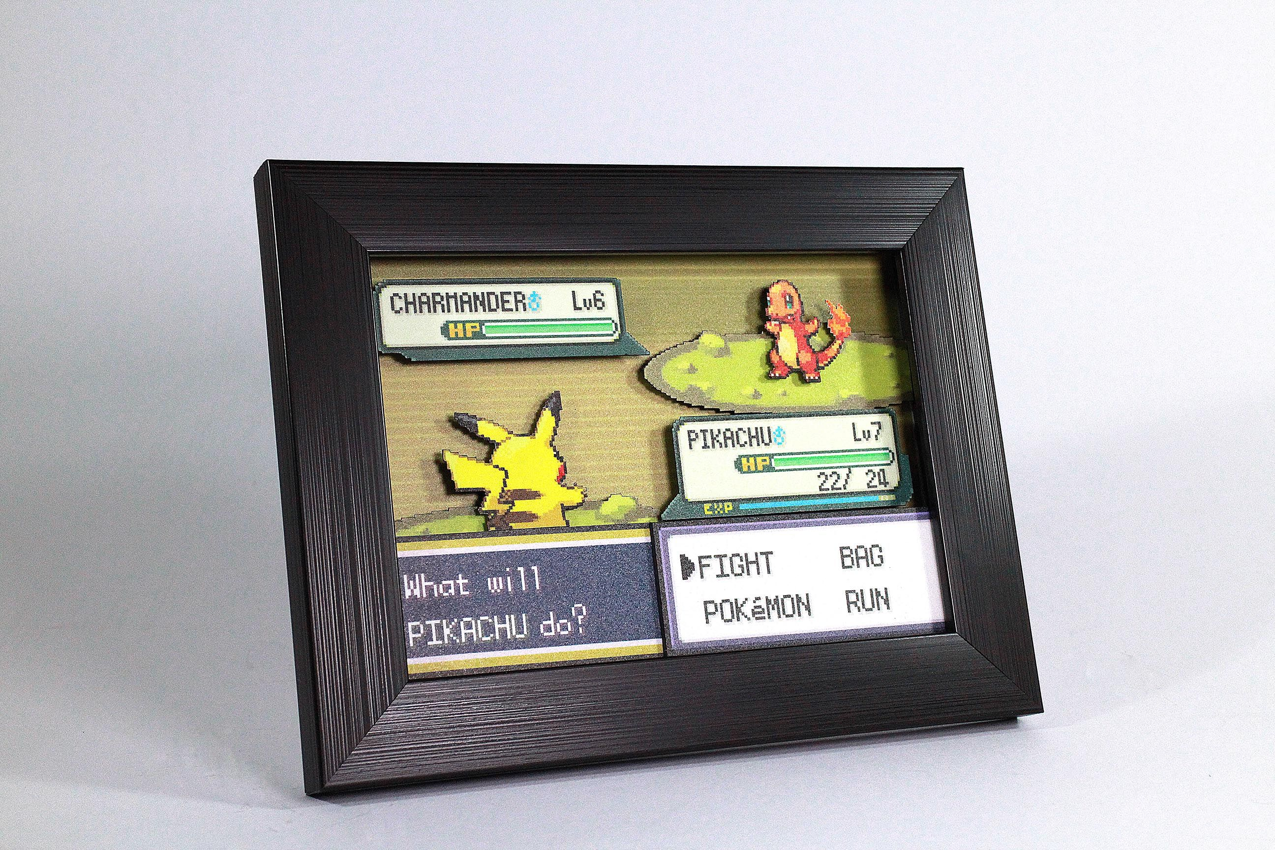 27cfca08e0647 Pokemon 3D Shadow Box Diorama featuring Pikachu versus Charmander ...